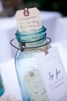 """Springs Wedding by Mi Belle Photography + Artisan Events leave a """"tip"""" jar on every table for guests to put marital advice and well-wishes into.leave a """"tip"""" jar on every table for guests to put marital advice and well-wishes into. Wedding Advice, Diy Wedding, Dream Wedding, Wedding Day, Wedding Reception, Reception Table, Trendy Wedding, Wedding Stuff, Sophisticated Wedding"""