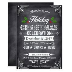 Chalkboard Holiday Party Card - new years eve happy new year party design ideas holiday party