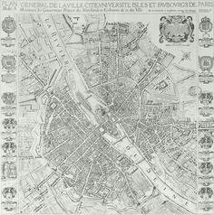 Architectural Drawings, Models, Photos, etc. Paris Map, Paris City, Old Maps, Antique Maps, Paris Au Moyen Age, Plan Paris, Musee Carnavalet, Words Wallpaper, Old Factory