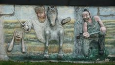 Outsider Artist Dan Erbstoessers Wall in Sheboygan, WI (The screaming face is influenced by Edvard Munch)