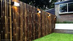 Best Bamboo Fencing For Garden and Outdoor Design: Outdoor Design And Bamboo Fence Panels For Bamboo Fencing With Garden Lighting Also Lawn And Box Planters With Brick Exterior Siding Plus Window Treatment And Diy Bamboo Fence