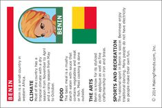 Benin Fact Card. Printable fact cards from MakingFriends.com. #WorldThinkingDay