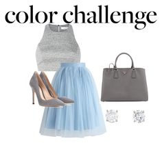 """""""Grey and Blue"""" by paricebourgoin ❤ liked on Polyvore featuring Elizabeth and James, Chicwish, Gianvito Rossi and Prada"""