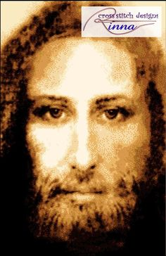 Jesus Face - Cross Stitch  in Sepia colors