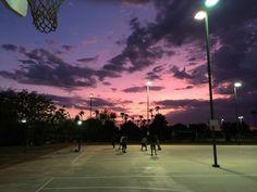 sky, Basketball, and sunset image