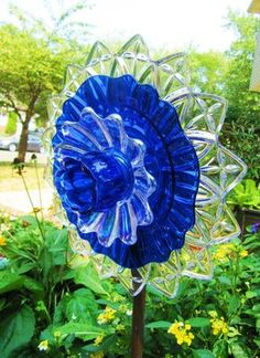 Glass plate flower art glass yard art garden by ADelicateTouch1