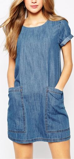 Fashion Solid Color Short Sleeve Round Neck Loose Denim Dress – Daily Posts for Women Denim T Shirt, Denim Tunic, Denim Outfit, Casual Dresses, Casual Outfits, Fashion Dresses, Cute Outfits, Denim Fashion, Womens Fashion