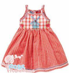 Oilily YS14GDR804 DA-DA-DA Dress ein Luxus Kleid mit aufgestickter Windmühle in rot mit weiß