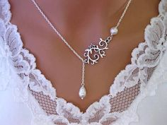 Lariat Sterling Silver plated Swirl Vine and by InStyleBoutique
