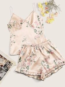 To find out about the Floral Print Satin Cami PJ Set at SHEIN, part of our latest Night Sets ready to shop online today! Satin Pyjama Set, Satin Pajamas, Pajama Set, Cute Pjs, Cute Pajamas, Cute Sleepwear, Loungewear, Sleepwear Women, Lingerie Sleepwear