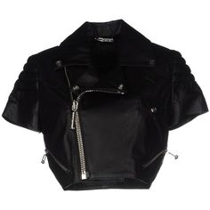 Philipp Plein Couture Jacket ($1,003) ❤ liked on Polyvore featuring outerwear, jackets, black, multi pocket jacket, zipper jacket, zip jacket, short-sleeve jackets and philipp plein jacket
