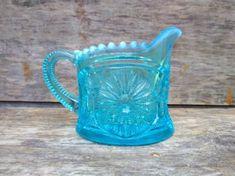 Vintage Northwood Glass Blue Stretch Glass #557 Concave Diamonds Tumbler c.1910