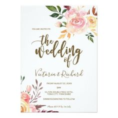 boho floral feather modern wedding invitation - invitations custom unique diy personalize occasions