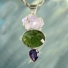 Faceted Moldavite Iolite and Raw Amethyst by ArkadianCollection