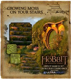 Home in the Shire: Add a little hobbit touch to your home and garden when you grow your own moss. It's easy! Just mix 2 cups of buttermilk with 1 cup chopped moss and paint onto a surface. No Shire home is complete without it.