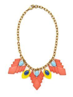 Multicolor Resin & Blue Czech Stone Drop Necklace by Lulu Frost