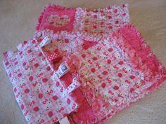 Hello Kitty Gift Set  Baby Girl Rag Quilt Blanket, Burp Cloths, Taggie. $49.99, via Etsy.