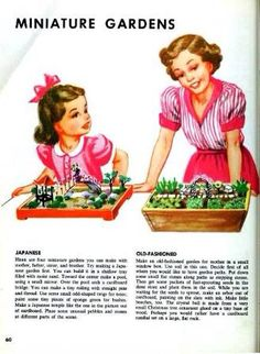 Simple play ideas from the past. Nature play with Mum, from a retro magazine. Vintage inspired kids activities