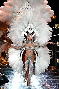 "A showgirl in one of the most extravagant costumes in the finale of ""Jubilee!"" at Bally's."