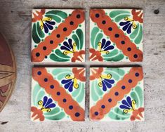 Four Vintage Talavera Mexican Ceramic Tiles, Rustic Home Decor, Ceramics and Pottery White Bohemian Decor, Boho Decor, French Bohemian, Mexican Ceramics, Painted Cupboards, Boho Chic Living Room, Vintage Interiors, Pottery, Hacienda Style