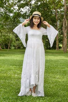 High Low Gypsy Wedding Dress -White Bohemian Dress, White Boho Dress, Long Sleeves Maxi Dress, Bell Sleeve, Hippie Dress, Fairly Clothing