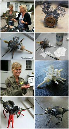 Insekter af ståltråd, grydesvampe og genbrugsting. Se billeder fra TV2 FRI / frihuset hvor Cecilie Hother og Tina Dalbøge laver kreative ting