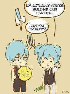 Nagisa: your holding our teacher Kuroko: *is very tempted to throw* #AssassinationClassroom #KurokoNoBasuke