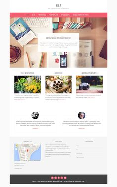 Sela Theme - front page with large image, 3 page intros, testimonials; several widget areas; large featured images for pages