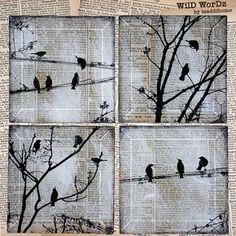 Black Bird a mano vetro Coaster Set dalla pagina del