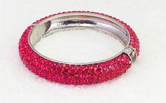 Beautiful & Dramatic Red Pave Crystal Hinged Bangle Bracelet