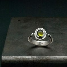 Peridot Ring Sterling Silver Solitaire Green by SunSanJewelry