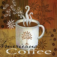 Artwork Title - Coffee Break Americano   Artist Name - Elena Vladykina   Size - 12x12x1.5 Quantity - 4 Pieces