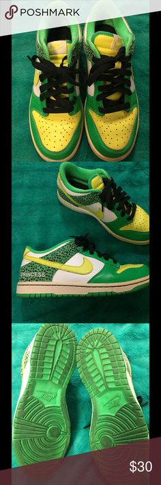 Nike shoes Bright green & yellow, they say Princess on the side of them Nike Shoes Sneakers