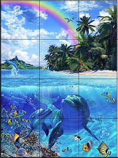 Ceramic Tile Mural - Glorious Daylight II- by Christian Riese Lassen - Kitchen backsplash / Bathroom shower *** You can find out more details at the link of the image. (This is an affiliate link) #KitchenBacksplashDIY