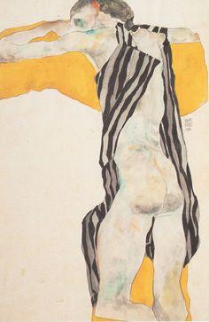 "dappledwithshadow: "" Girl with Arms Raised, Egon Schiele 1911 """