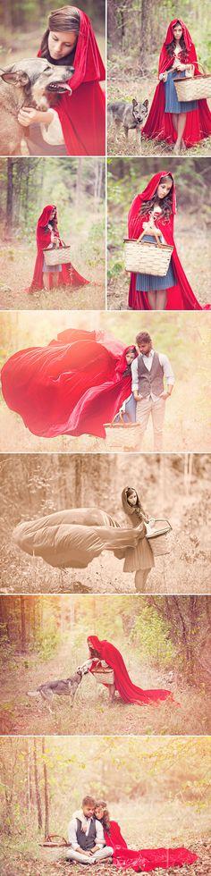 Fairytale Inspired Engagement Photos - Praise Wedding - Little Red Riding Hood Fantasy Photography, Photography Poses, Narrative Photography, Of Wolf And Man, Red Ridding Hood, Red Riding Hood Costume, Halloween Disfraces, Photoshoot Inspiration, Style Inspiration