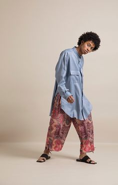 HOMME 2019 S/S 013, 60/- Special Dyed Linen Baggy Shirt   ARC-B02-301, Kilim Pattern Fake Linen Ankle Tied Easy Pants   ARC-P06-502 Baggy Shirts, Harem Pants, Ankle, Easy, Pattern, Fashion, Gowns, Moda, Harem Trousers