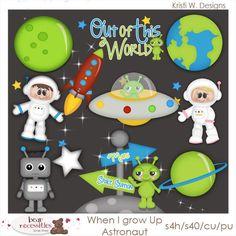 When I Grow Up Astronaut - Kristi W Designs Clip Art