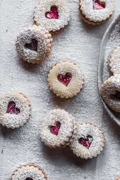 Buttery, lemon-y, nut-free shortbread linzer cookies made with store-bought raspberry jam. Linzer Cookies, Shortbread Recipes, Cookie Recipes, Dessert Recipes, Tea Cakes, Holiday Baking, Christmas Baking, Christmas Cookie Boxes, Sweets