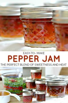 Pepper jam is an easy recipe for a lovely colored, condiment or food gift. Perfect balance of sweet and heat used as an appetizer with cheese and crackers. Pepper Jelly Recipes, Hot Pepper Jelly, Canning Pepper Jelly, Jalapeno Pepper Jelly, Homemade Food Gifts, Homemade Jelly, Jam And Jelly, Grateful Prayer, Thankful Heart
