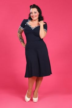 Miss Candyfloss Edie Dress in Navy White  104 31 12871 20140422 0005W