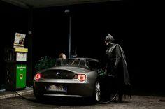 Photo series of famous superheros in marginal life by Bechet Benjamin.
