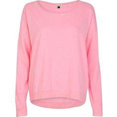 River Island Bright pink dip hem sweatshirt ($14) ❤ liked on Polyvore featuring tops, hoodies, sweatshirts, sweaters, shirts, jumper, sale, river island top, pink oversized shirt and pink top