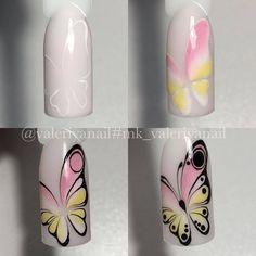 The Best Nail Art Designs – Your Beautiful Nails Sharpie Nail Art, Gel Nail Art, Nail Art Diy, Easy Nail Art, Diy Nails, Cute Nails, Butterfly Nail Designs, Butterfly Nail Art, Simple Nail Art Designs