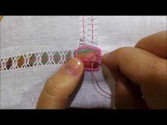 Sfilatura con quattro colonnine incrociate - Tutorial ricamo a mano hand Embroidery Deshilado - YouTube