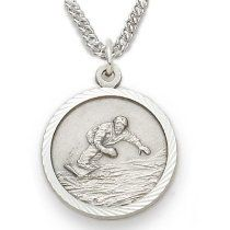 "Sterling Silver Boy's Snowboarding Medal St Christopher on Back Sports Jewelry Boys Sports Patron Saint St Medal Catholic with St Christopher on Back w/Chain 20"" Length"