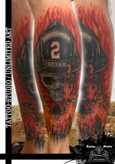Colour Tattoo / Feuerwehr Tattoo Tattoo Studio, Colour Tattoo, Badass Tattoos, Fire Department, Future Tattoos, Blur, I Tattoo, Tatting, Firefighter Tattoos