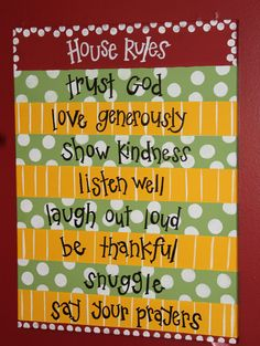 Custom House Rules Sign by Love4PolkaDots on Etsy, $40.00