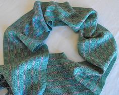 Summer Scarf Handwoven Cotton and Orlec in Leaf by WovenBeauty
