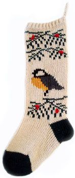 Chickadee stocking - 100% wool, made in Maine, feathered friend Christmas stockings